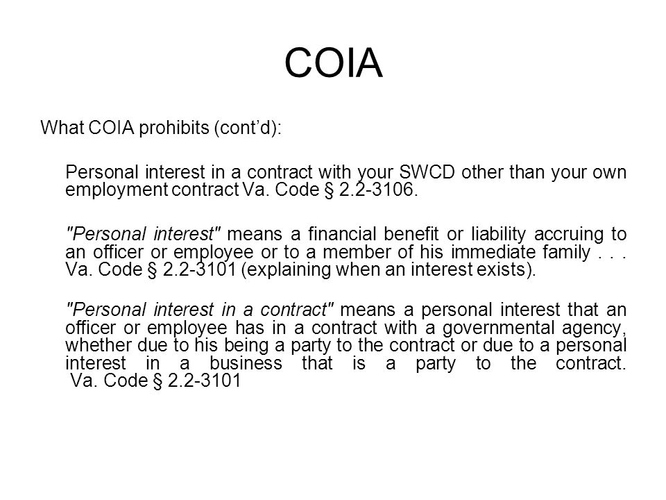 COIA What COIA prohibits (cont'd):