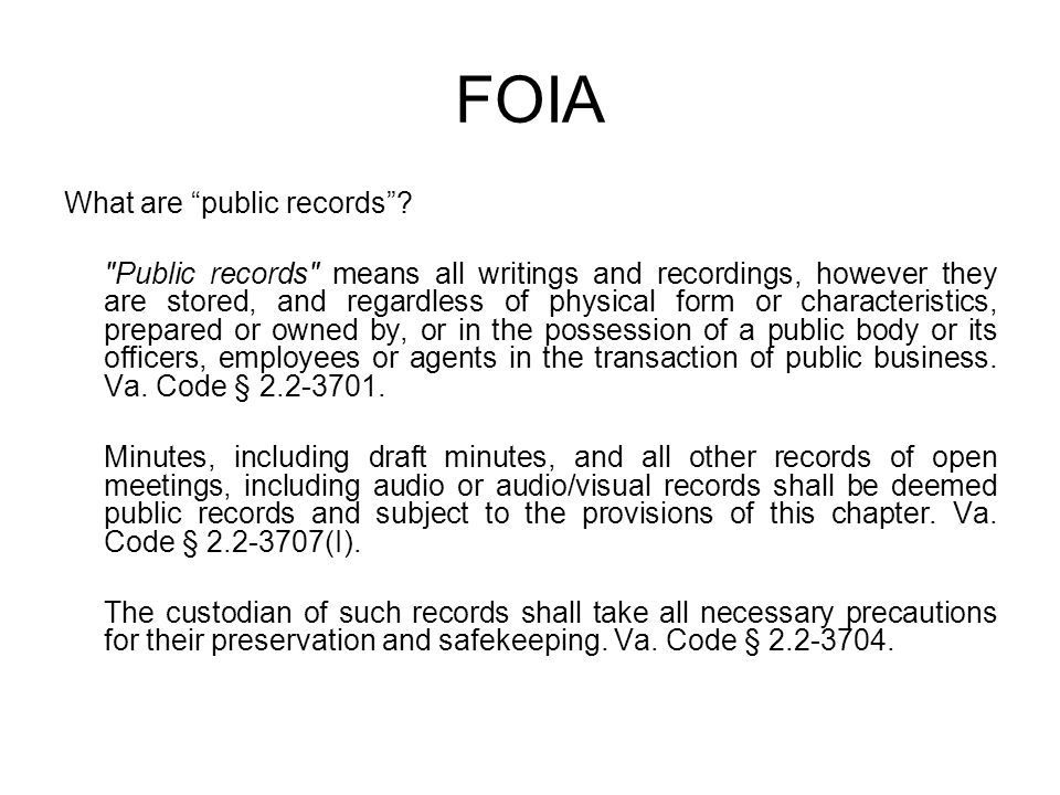 FOIA What are public records