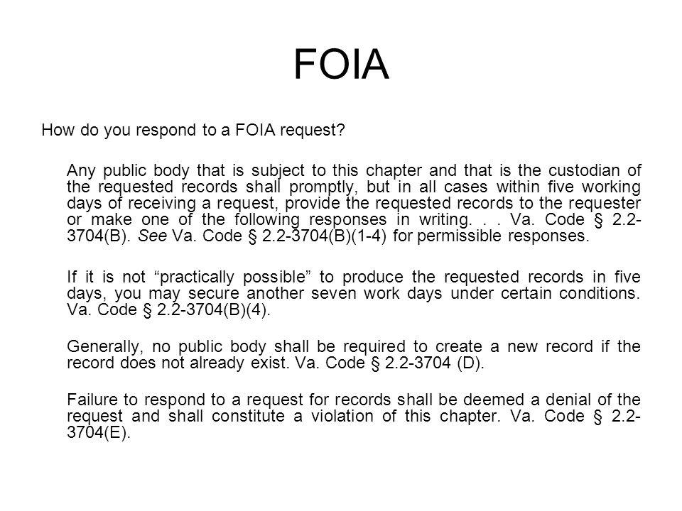 FOIA How do you respond to a FOIA request