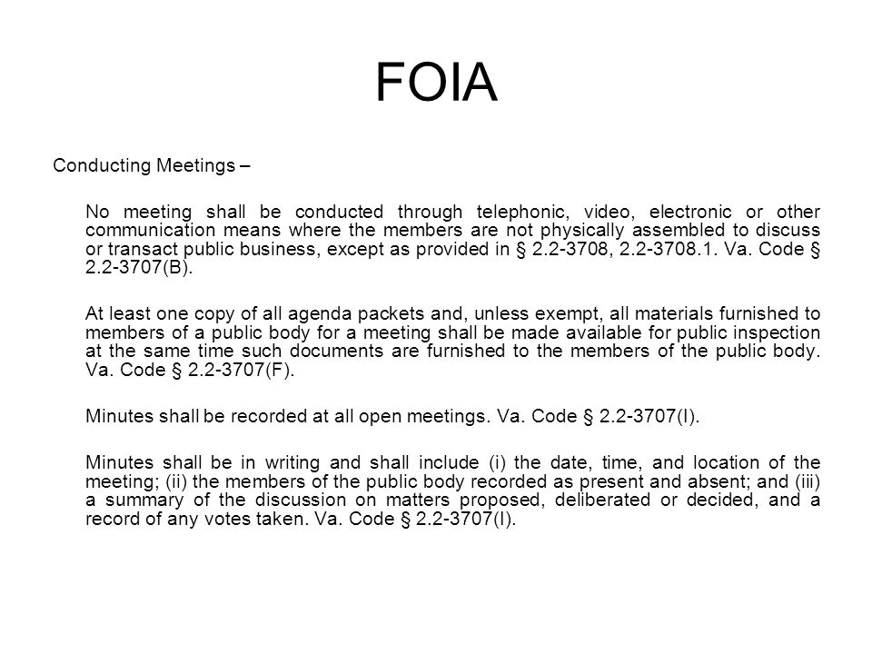 FOIA Conducting Meetings –