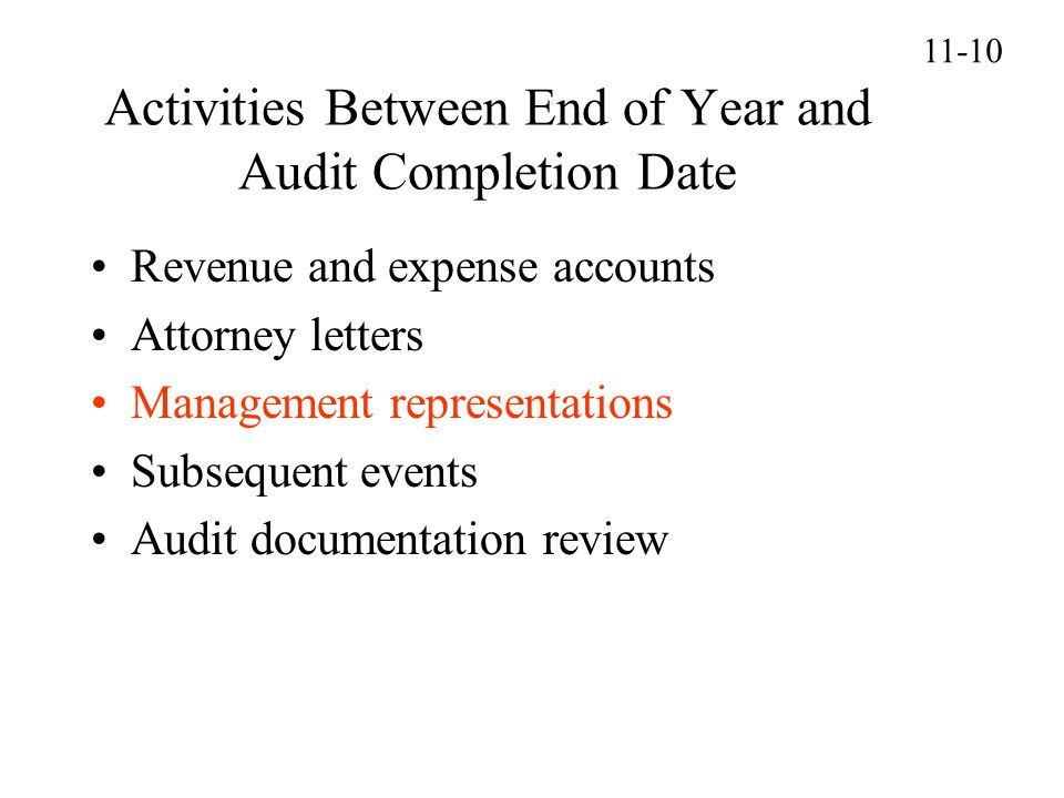 Activities Between End of Year and Audit Completion Date
