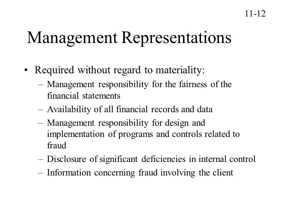 Management Representations