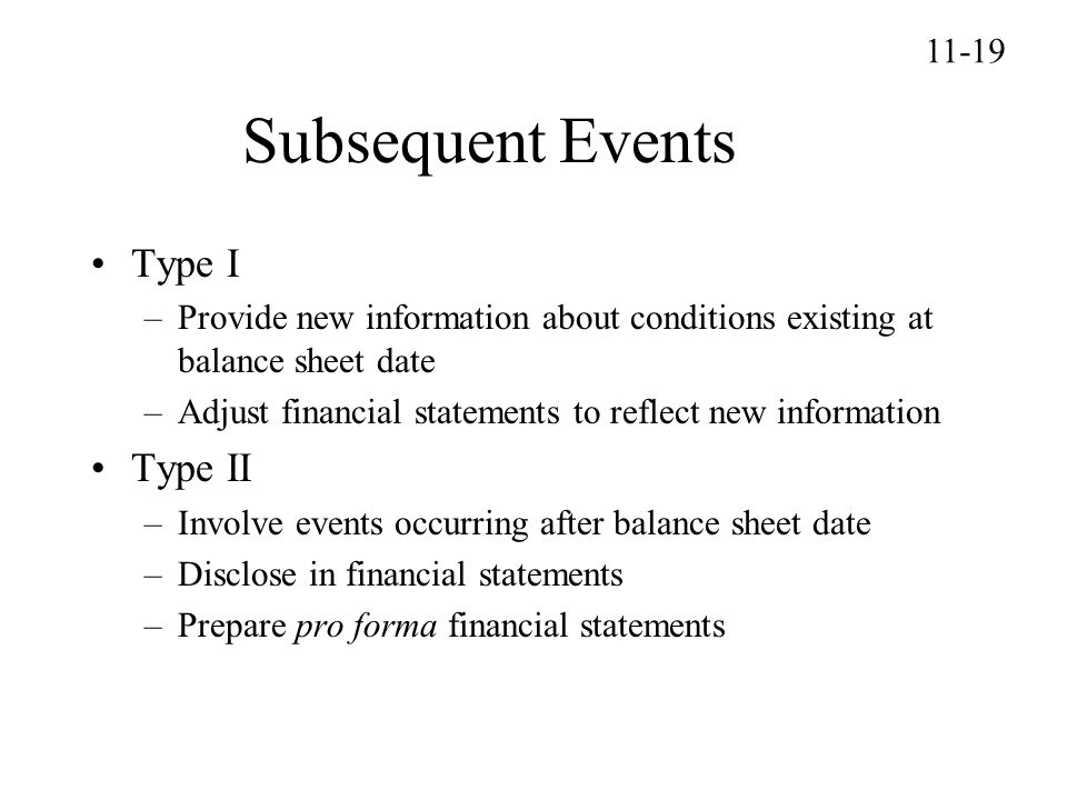 Subsequent Events Type I Type II 11-19