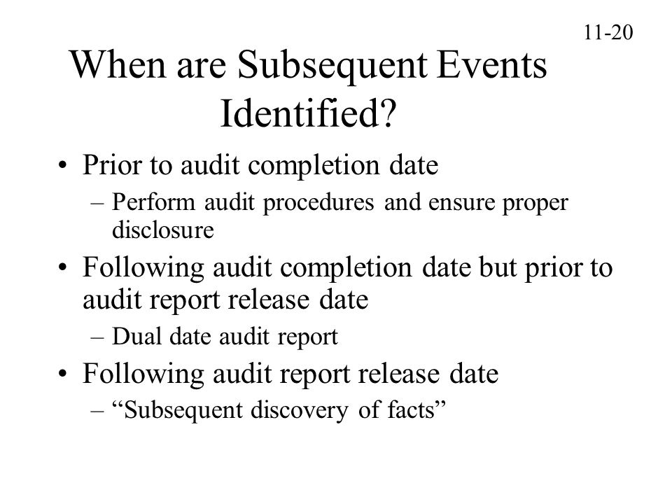 When are Subsequent Events Identified