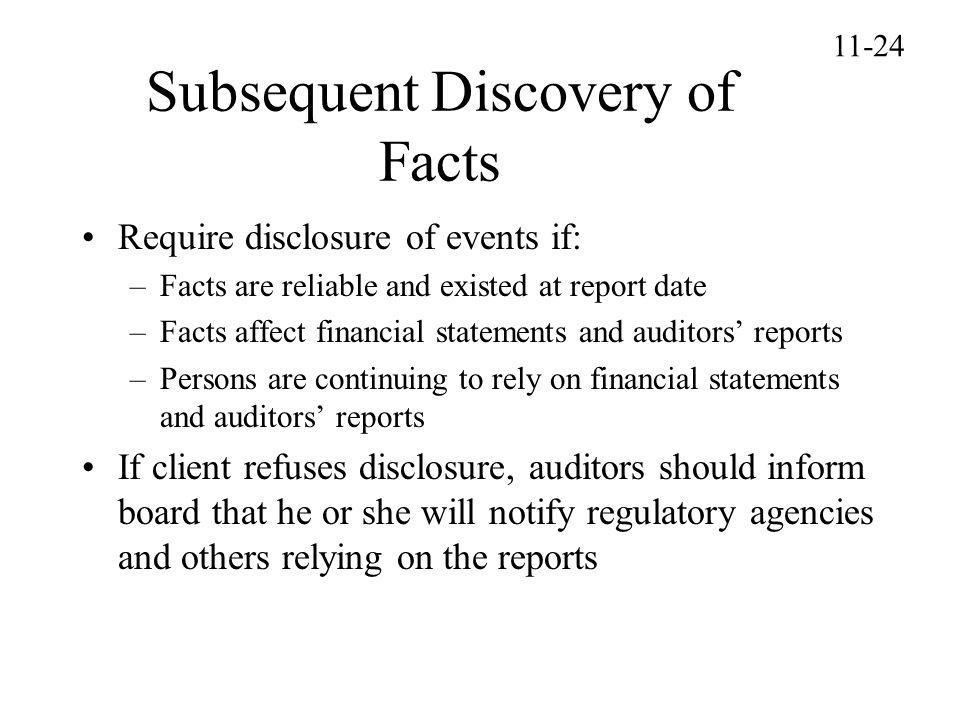 Subsequent Discovery of Facts