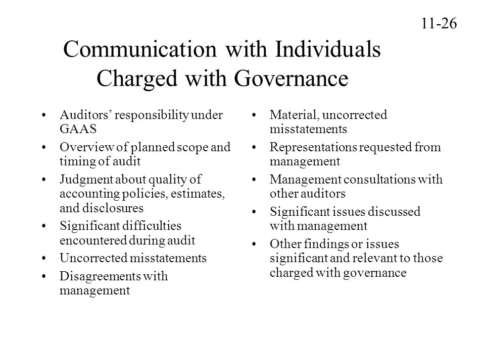 Communication with Individuals Charged with Governance