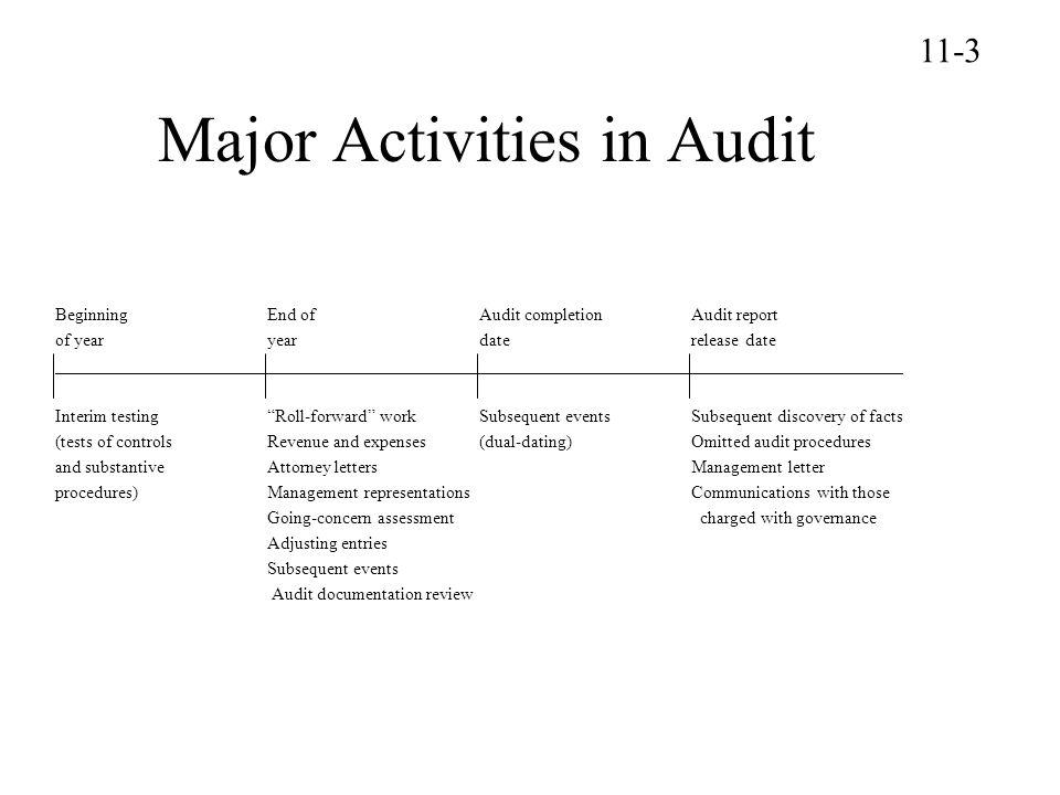 Major Activities in Audit