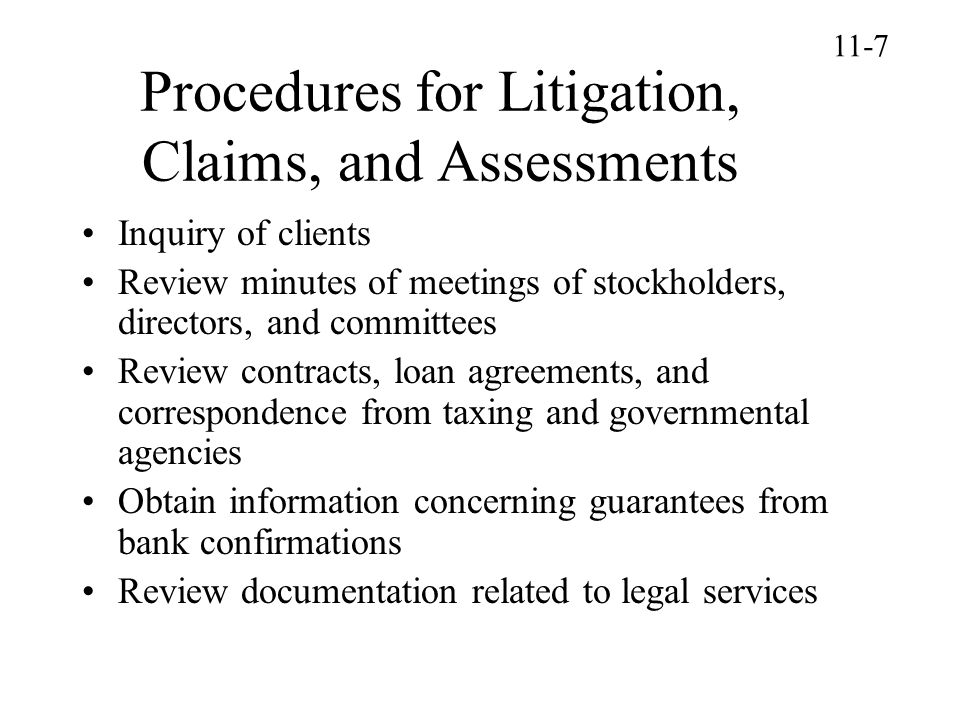 Procedures for Litigation, Claims, and Assessments