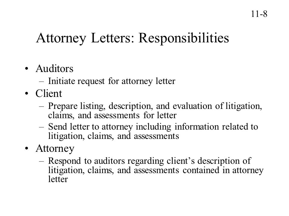 Attorney Letters: Responsibilities
