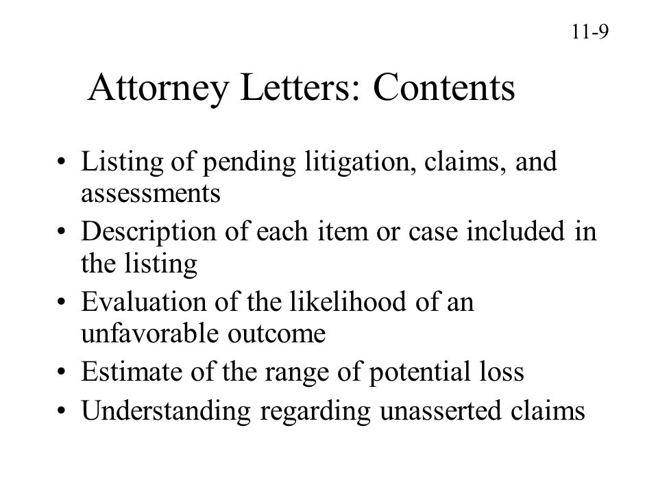 Attorney Letters: Contents