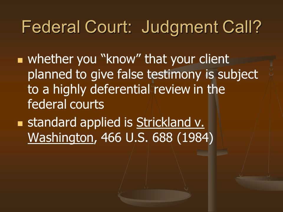 Federal Court: Judgment Call
