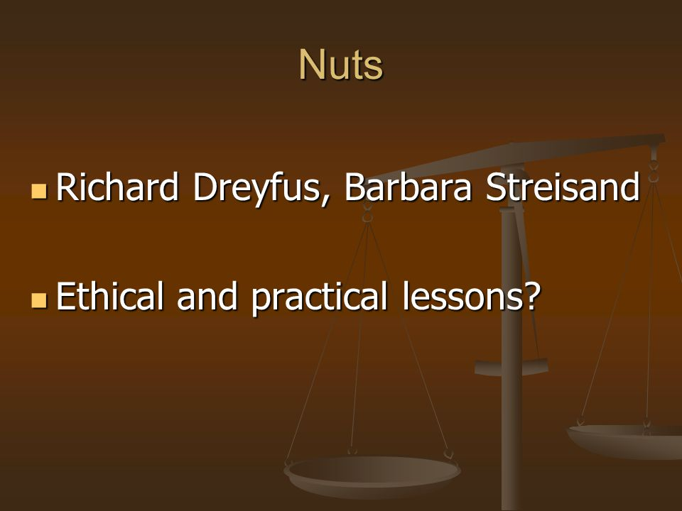 Nuts Richard Dreyfus, Barbara Streisand Ethical and practical lessons