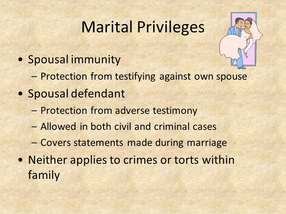 Marital Privileges Spousal immunity Spousal defendant