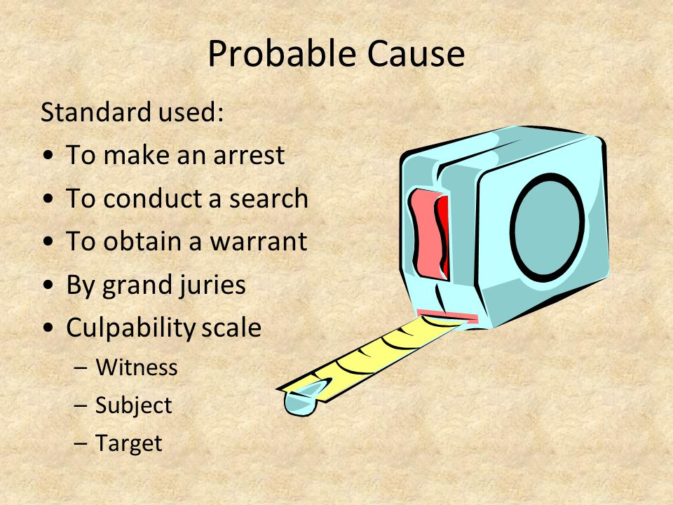 Probable Cause Standard used: To make an arrest To conduct a search