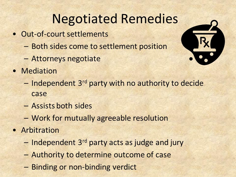 Negotiated Remedies Out-of-court settlements