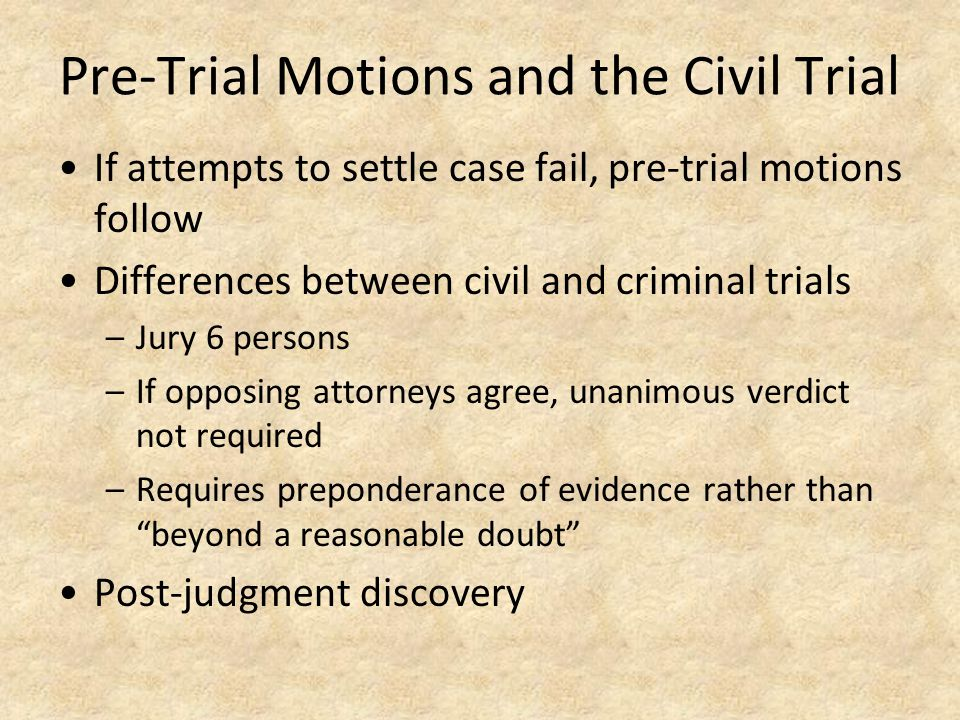 Pre-Trial Motions and the Civil Trial