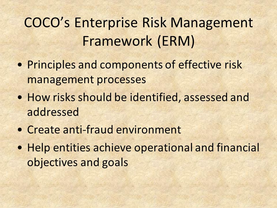 COCO's Enterprise Risk Management Framework (ERM)