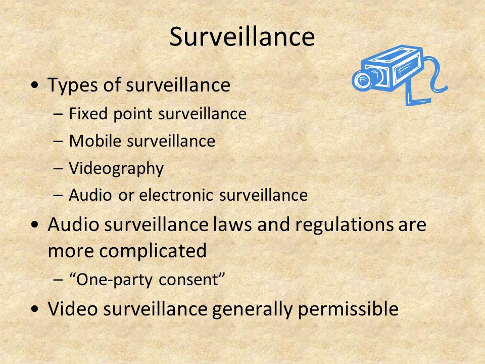 Surveillance Types of surveillance