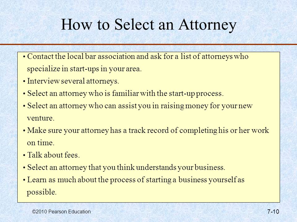 How to Select an Attorney