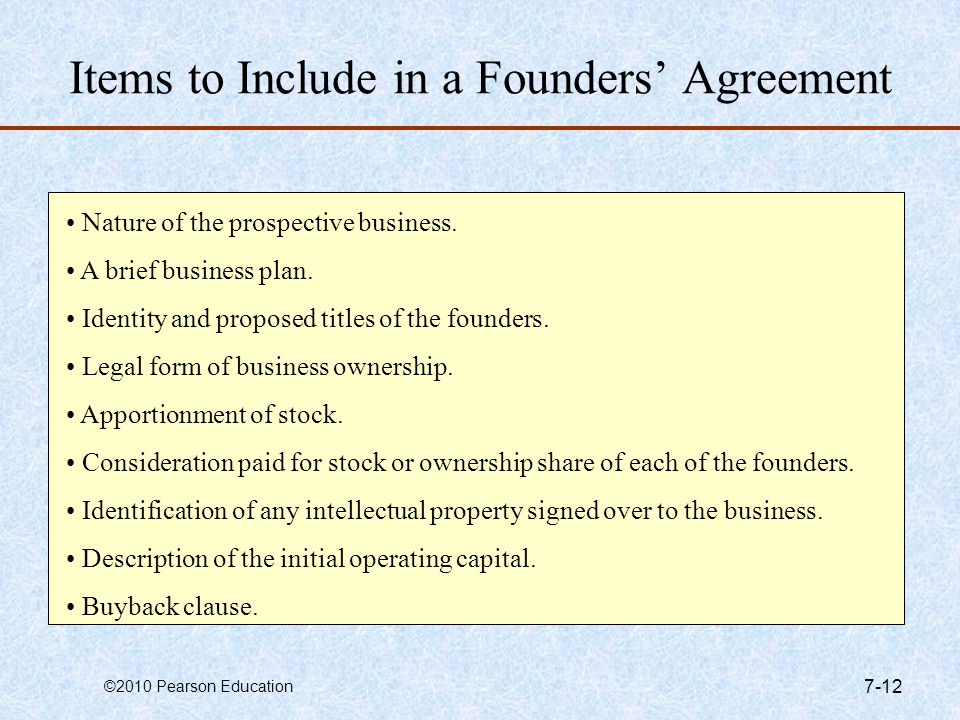 Items to Include in a Founders' Agreement