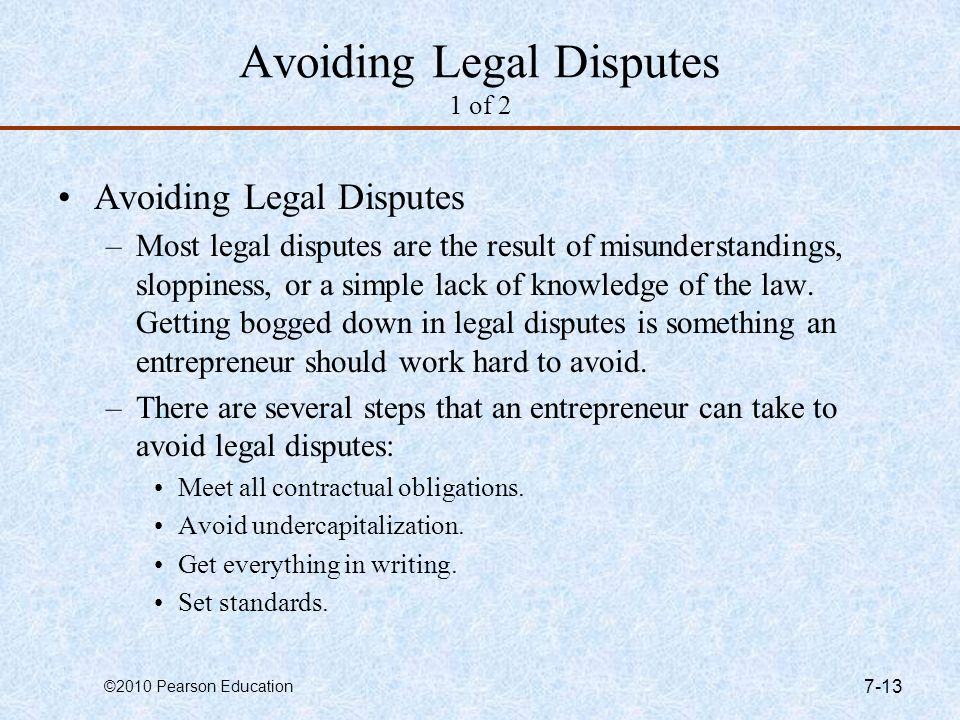 Avoiding Legal Disputes 1 of 2