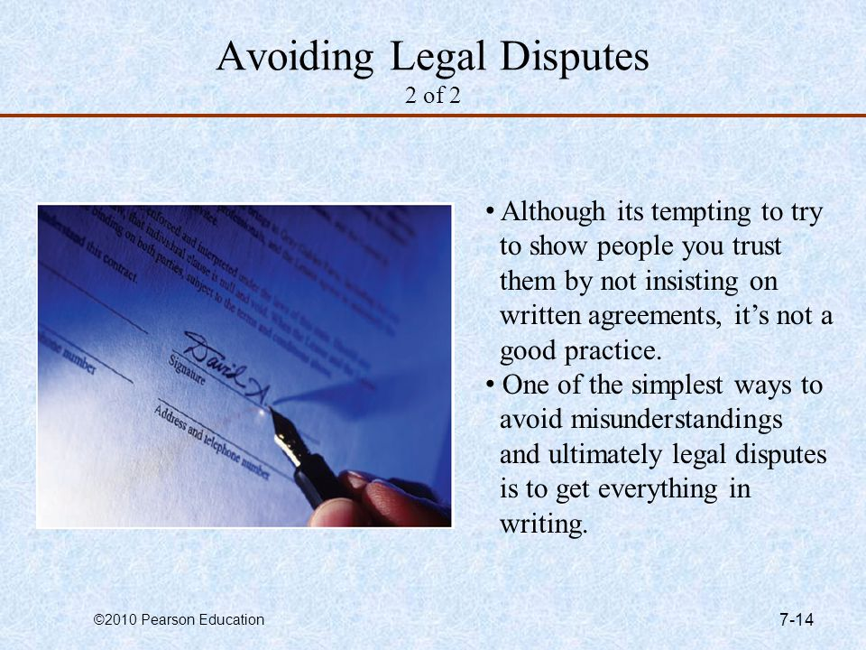 Avoiding Legal Disputes 2 of 2