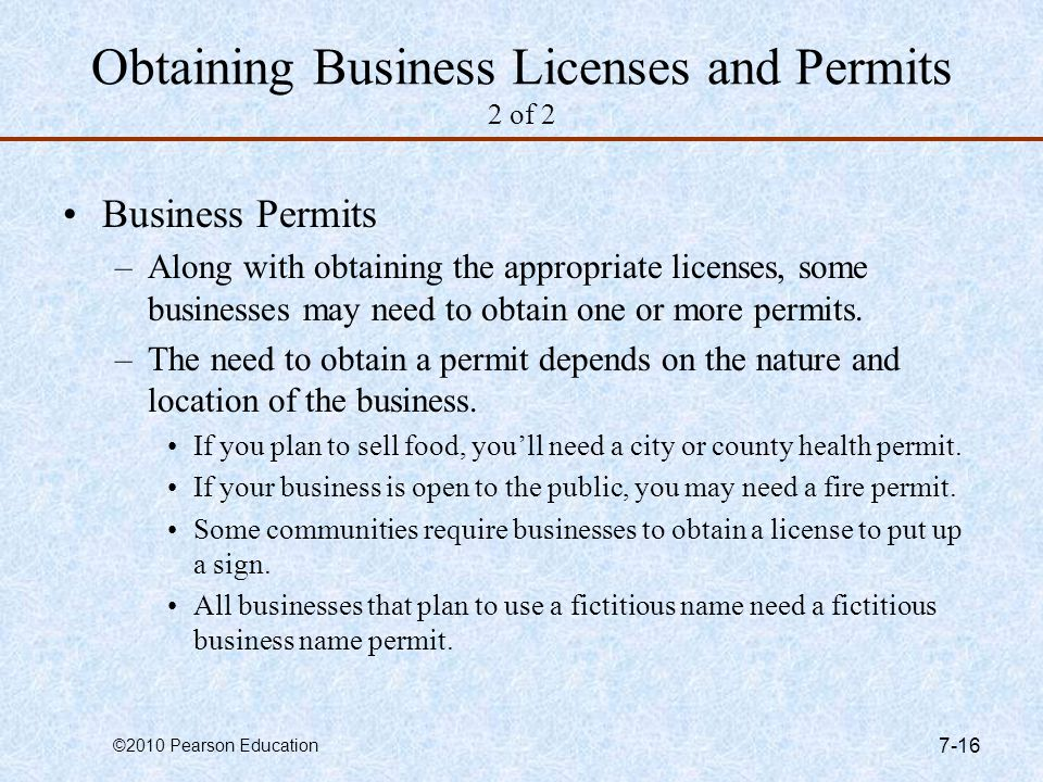 Obtaining Business Licenses and Permits 2 of 2