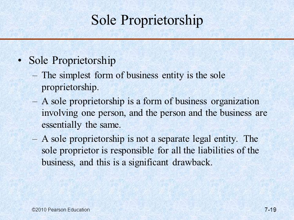 Sole Proprietorship Sole Proprietorship