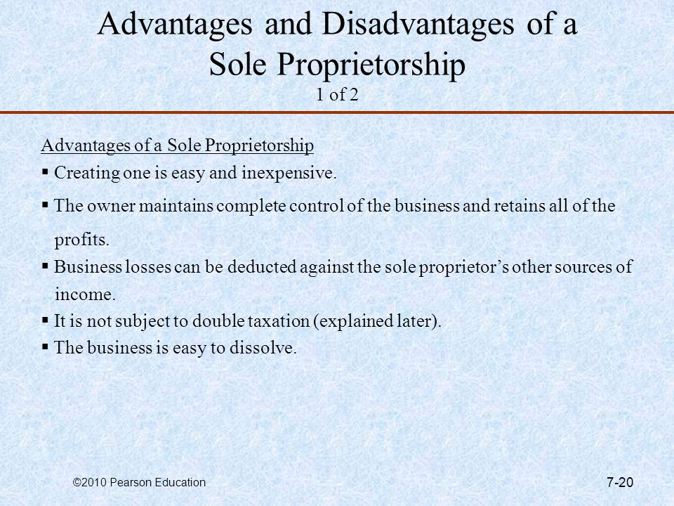 Advantages and Disadvantages of a Sole Proprietorship 1 of 2