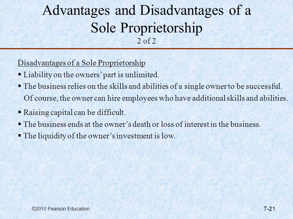 Advantages and Disadvantages of a Sole Proprietorship 2 of 2