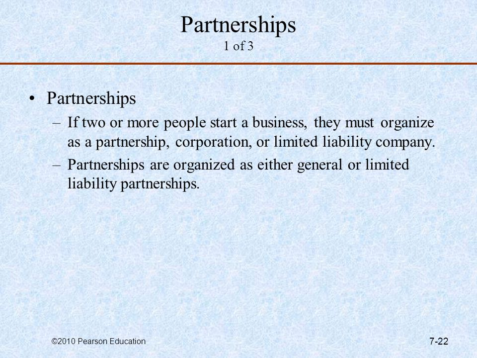 Partnerships 1 of 3 Partnerships