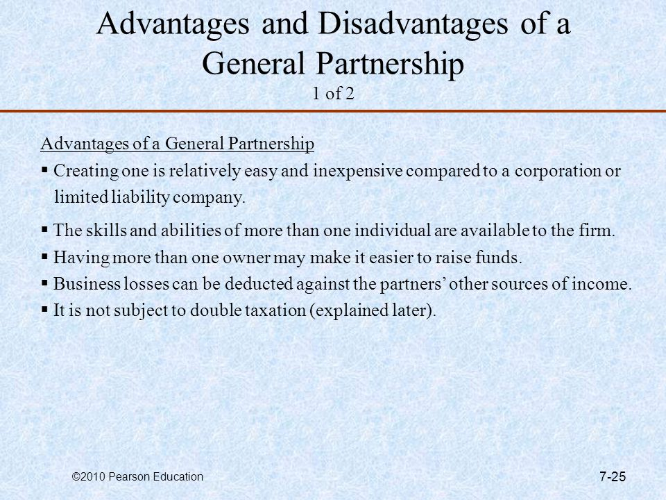 Advantages and Disadvantages of a General Partnership 1 of 2