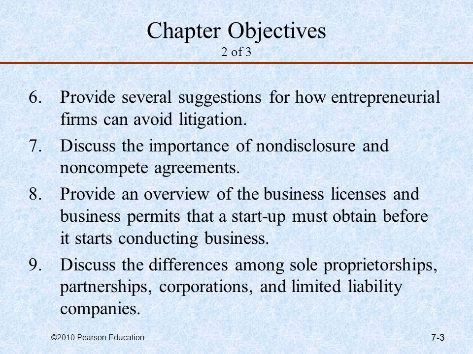 Chapter Objectives 2 of 3 Provide several suggestions for how entrepreneurial firms can avoid litigation.