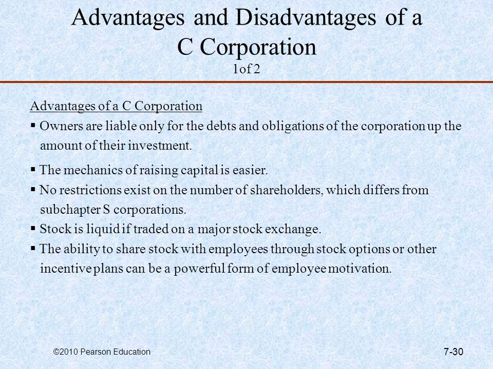 Advantages and Disadvantages of a C Corporation 1of 2