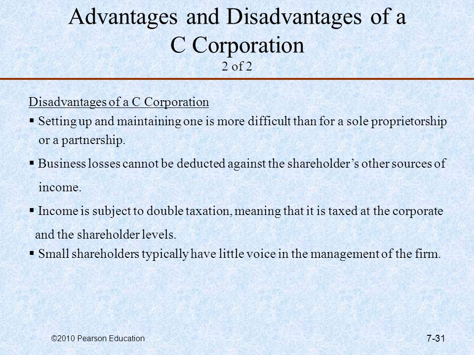 Advantages and Disadvantages of a C Corporation 2 of 2
