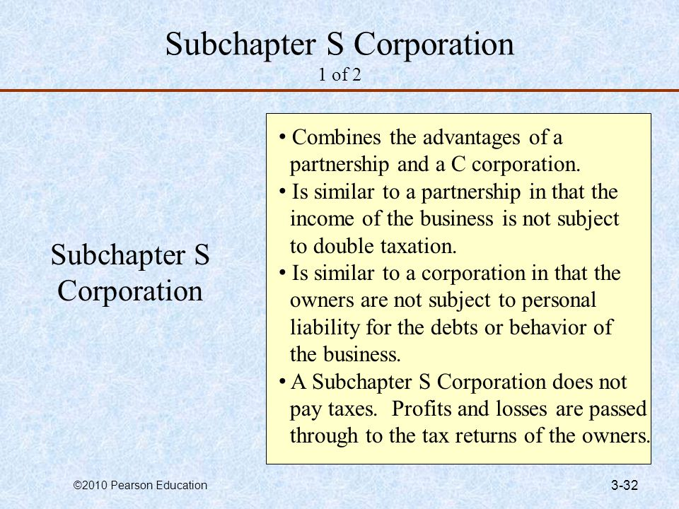 Subchapter S Corporation 1 of 2