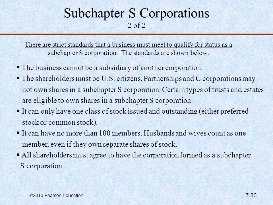 Subchapter S Corporations 2 of 2