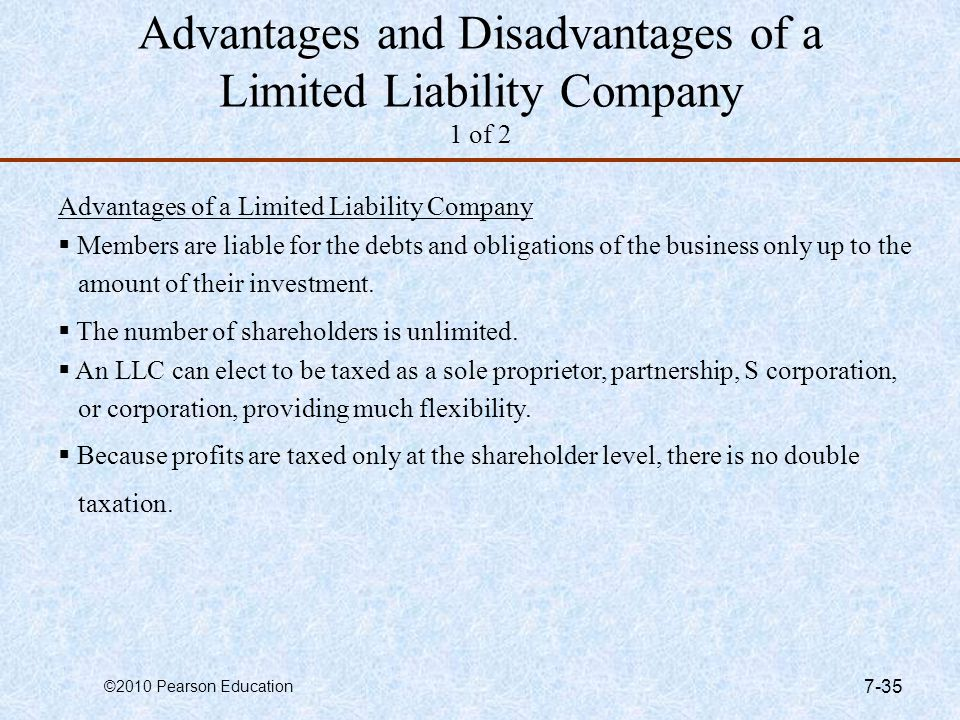 Advantages and Disadvantages of a Limited Liability Company 1 of 2