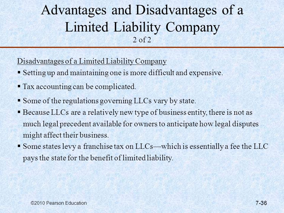 Advantages and Disadvantages of a Limited Liability Company 2 of 2