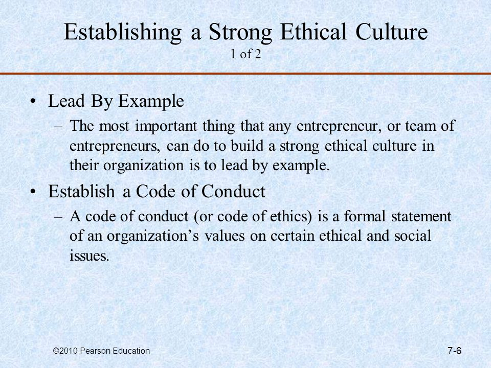 Establishing a Strong Ethical Culture 1 of 2
