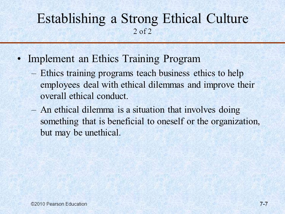 Establishing a Strong Ethical Culture 2 of 2