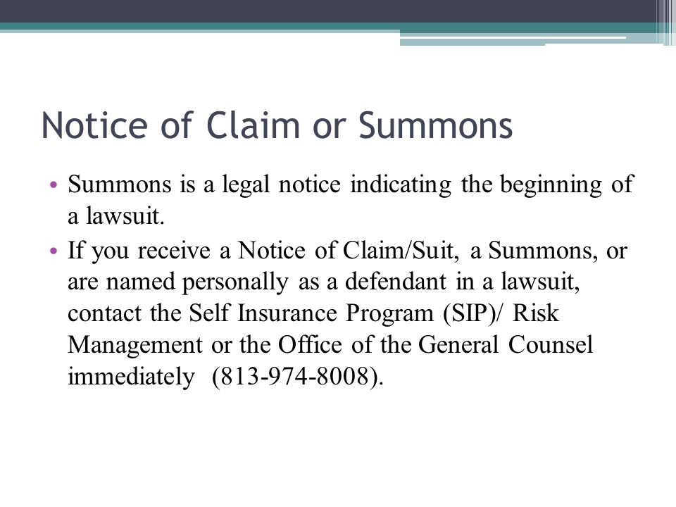 Notice of Claim or Summons