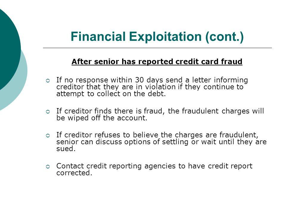Financial Exploitation (cont.)