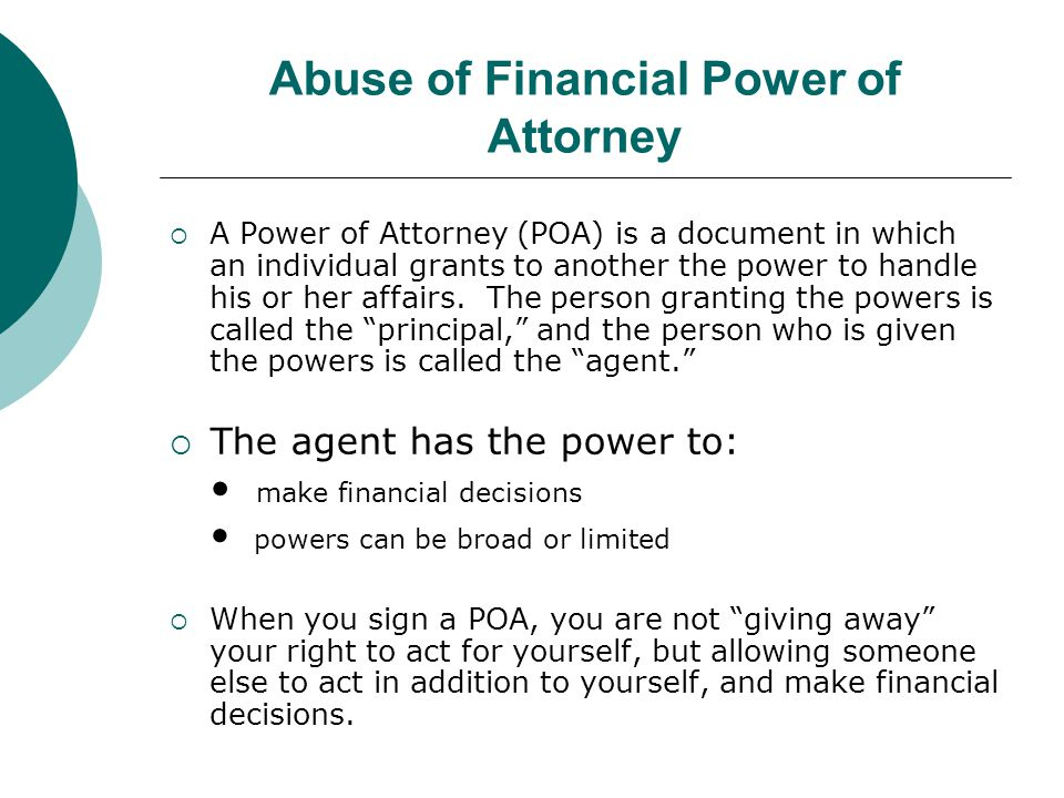 Abuse of Financial Power of Attorney