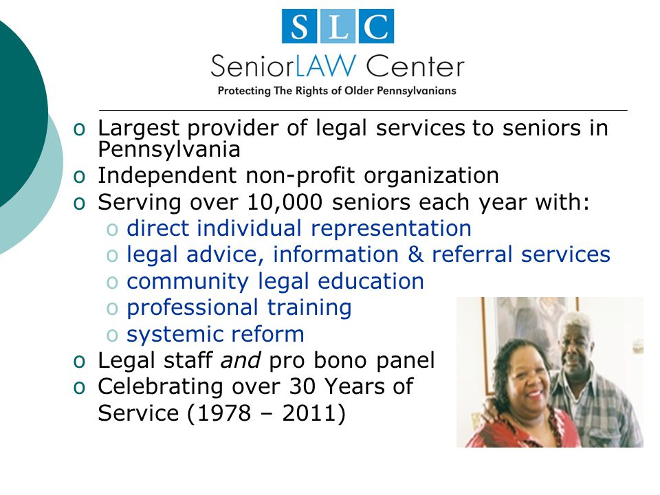 Largest provider of legal services to seniors in Pennsylvania