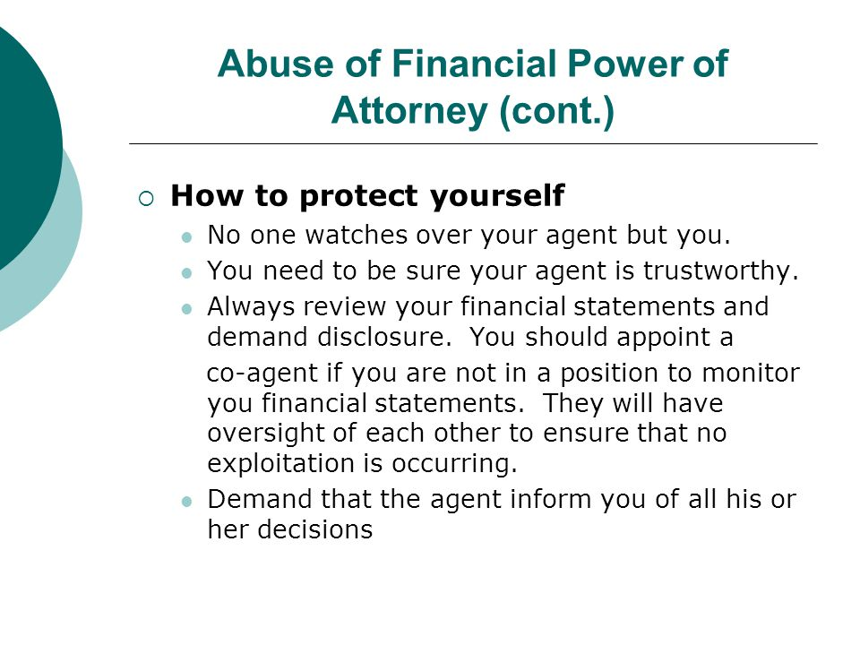 Abuse of Financial Power of Attorney (cont.)