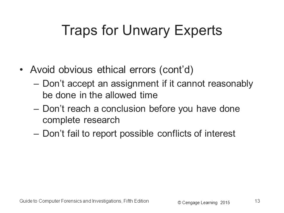 Traps for Unwary Experts