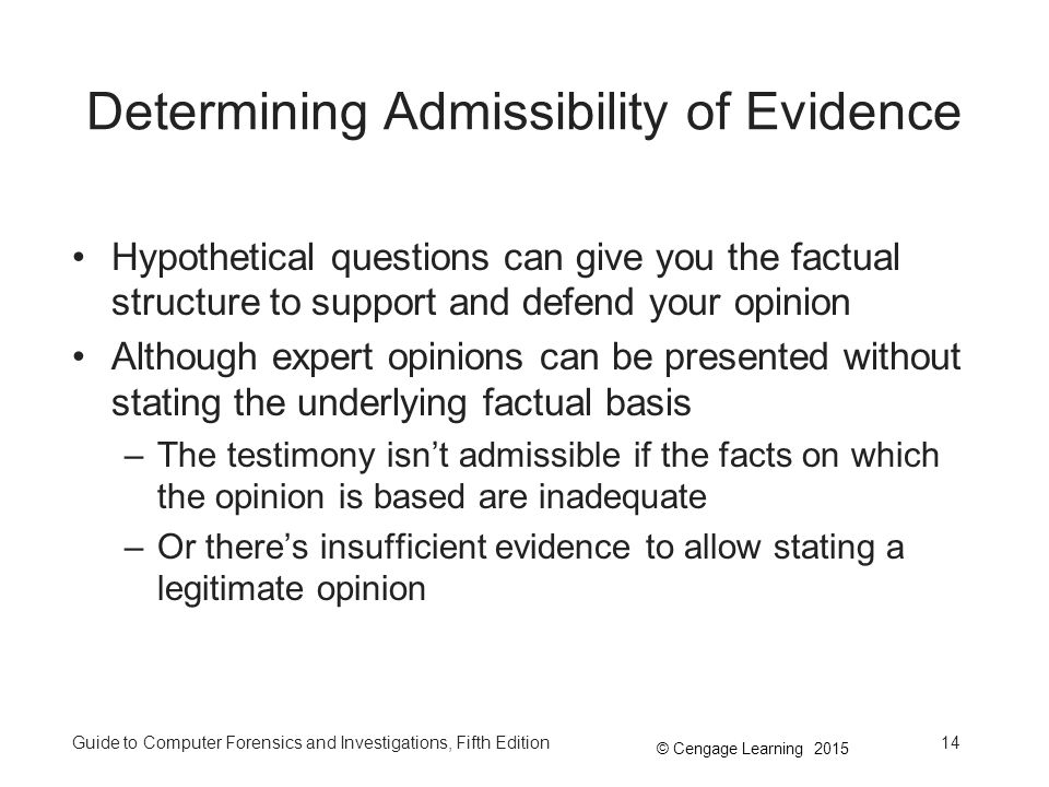 Determining Admissibility of Evidence