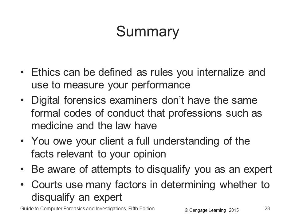 Summary Ethics can be defined as rules you internalize and use to measure your performance.