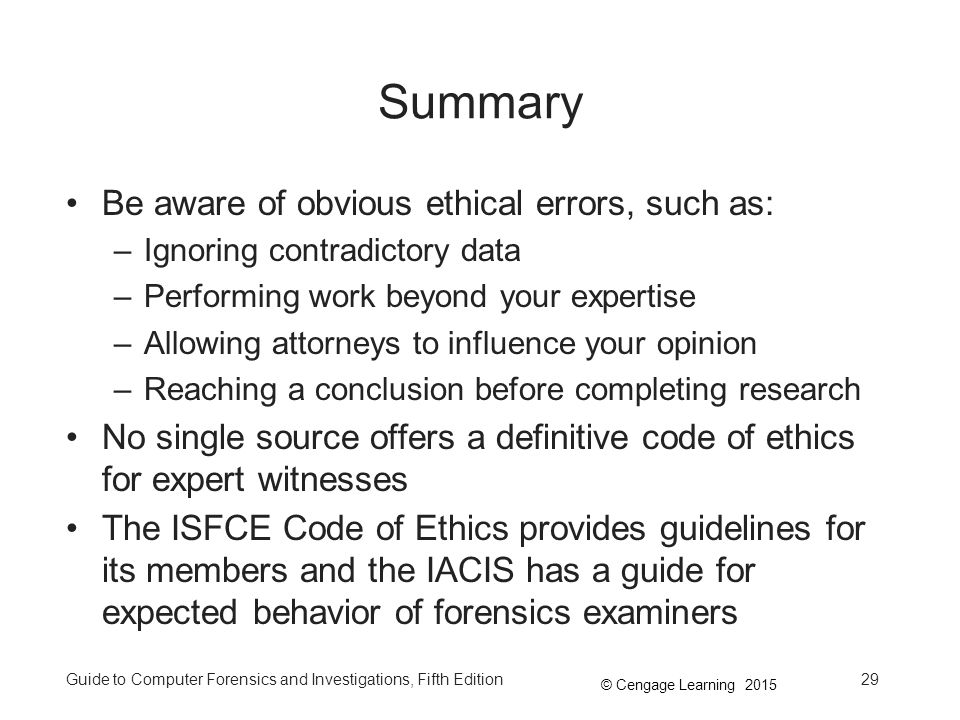 Summary Be aware of obvious ethical errors, such as: